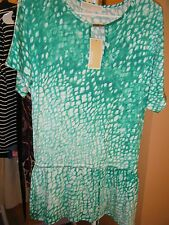 Michael Kors Chiffon Peplum Blouse Top Size Small GREEN WHITE $99.50