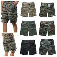Mens Army Military Combat Shorts Fashion Camo Cargo Shorts Camping Work Fishing