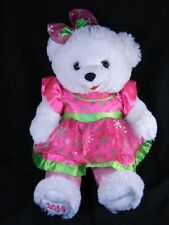 "Dan Dee Christmas Snowflake 2014  White Girl Bear Pink Dress 19"""