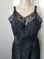 Adonna Women's Black Full Slip Lace Size 38 Vintage Unmentionables