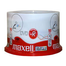 50 x MAXELL DVD-R Stampabile A Getto D'inchiostro superficie bianca 16x 4.7 GB 120 min-mandrino pack