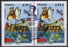Y&T 4953 Paire  Europa - Jouets anciens de 2015  OBLITÉRÉ 1er jour