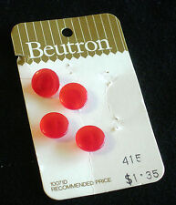 Vintage Beutron Blouse Buttons 1980-1990 - 11mm, shanked, red, 1 card x 4 pc