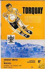 TORQUAY UTD  V  WALSALL   3RD  DIVISION   13/1/68