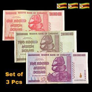 Zimbabwe 100, 200, 500 Million Dollars 2008 - Bon État Trillion 50 100]