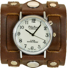 Women's Retro Cuff Watch; Steampunk;  Genuine Leather; Indiglo Back Light; USA