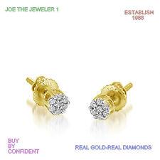 Diamonds Flower  Earrings 0.10 CWT 10K Yellow Gold Screw Backs Round SI1,G,NEW