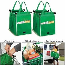 Grab Bag Clip-To-Cart Reusable Grocery Shopping Bags, Pack of 2 **** NEW
