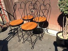4 Matching Vintage Wrought Iron /Wood Ice Cream Parlor Chairs W /Heart Back-Nice