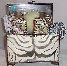 Gift Basket Zebra Creamy Apple Bath Lotion Body Wash Spa Metal Chest Ladies Gift