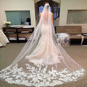Yalice Womens Silver Flower Bride Wedding Veil Ivory Lace 2T Two-tier Elbow Bridal Veils Soft Tulle Hair Accessories