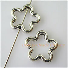 8Pcs Antiqued Silver Tone Flower Star Spacer Beads Frame Charms 16mm