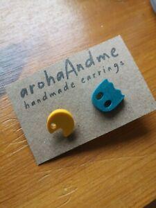 Brand new Etsy pac man earrings studs - never worn, handmade retro gaming