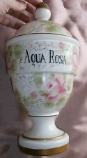 Pot à pharmacie verre overlay transparent / opaline blanc peint roses AQUA ROSA