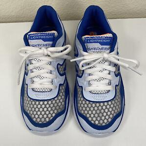 Skechers Memory Foam Gel-Infused Youth Blue/ White Lace Sneaker Sz 12.5
