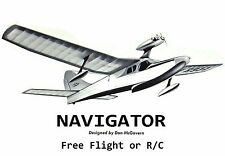 "Model Airplane Plans (FF or RC): NAVIGATOR 52"" Amphibious Flying Boat .049-.10ci"