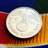 1937 D 5 Mark German WW2 Silver Coin Third Reich Swastika Reichsmark