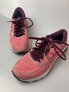 Asics Gel Nimbus 21 Womens Size 9 Running Shoes Pink Lace Up Sneakers