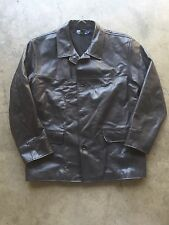 Polo Ralph Lauren Wool Lined Leather Car Coat Jacket sz Large Black