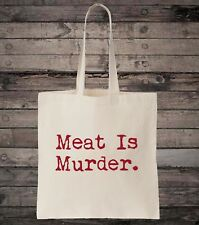 Meat Is Murder Vegetarian Vegan Cotton Shopping Tote Bag