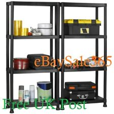4 Tier Plastic Shelf Shelving Shelves Rack Racking Home Storage Unit Black - UK
