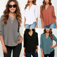 Women's Summer OL Loose Chiffon V-Neck Tops Tag Long Sleeve Shirt Casual Blouse