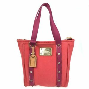 100% Authentic Louis Vuitton Canvas Antigua Cabas MM Red M40034 [Used] {07-081B}