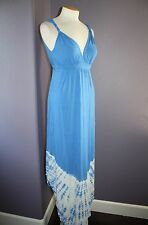 NWT Gypsy 05 La Ba Dee Blue Tie Dye Deep V Bamboo Twist Strap Maxi Dress XS $143