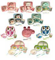 Children Baby 100% Bamboo Fiber Dinner Meal Bowl Plate Set Eco Friendly UK STOCK