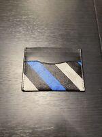 COACH Black Signature Canvas Leather Slim ID Card Case Wallet Striped