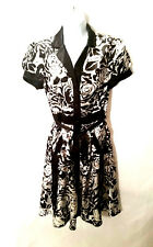 Speechless Women's Dress Black & White Button Up V-Neck Floral Design Size 7