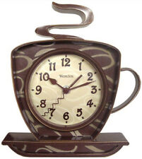Westclox Coffee Cup 3D Wall Clock for Kitchen with Steam and Handle Design New