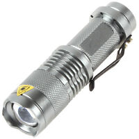 7W 400LM Silver Mini CREE Q5 LED Flashlight Adjustable Focus Zoom LED Lamp Torch