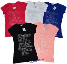 GUESS Shirt Logoshirt Tops T-Shirts Rundhals 5 Farben Strass XS--XL