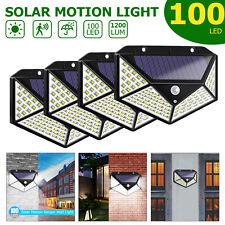 1/2/4x 100LED Solar Power Light Motion Sensor Security Outdoor Garden Wall Lamps
