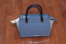 NWT Michael Kors $298 Selma Medium Colorblock Satchel Handbag Patent Denim