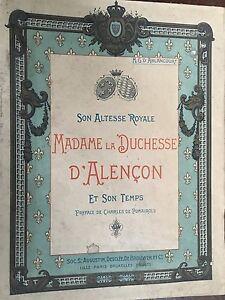 """LIVRE """"MADAME la DUCHESSE D'ALENCON """" Livre ancien / Livre rare"""