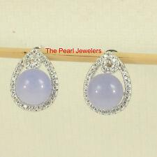 Solid Sterling Silver 925 Set 10mm Lavender Jade & Cubic Zirconia Stud Earrings
