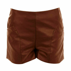 Genuine Lambskin Leather Partywear Cocktail HOT Shorts For Women's Sexy Designer