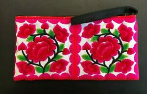 NEW - Embroidered Wristlet, Clutch, Cosmetic Case, Cell Phone Case - Pink