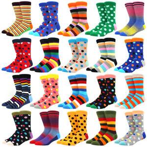 NEW Mens Cotton Socks Colorful Argyle Diamond Stripes Dots Dress Socks For Gifts