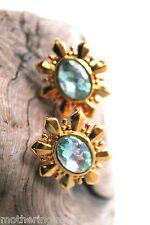 Stunning Blue Aurora Borealis Gold Starburst Clip On Earrings Vintage Avon