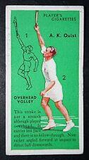 Vintage Tennis Technique  Overhead Volley  Adrian Quist   Original 1930's Card