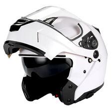1Storm DOT Motorcycle Modular Full Face Helmet Flip up Dual Visor Glossy White