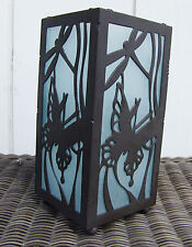 Dragonfly Butterfly Candle Holder Bronze Metal Glass Outdoor Patio Hurricane