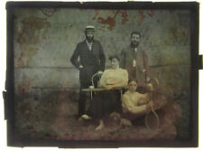 Autochrome Groupe Famille Femme Jeune Homme Chien Raquette de Tennis 1910/20