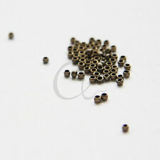 100pcs Antique Brass Plated Brass Base Crimp Beads-2mm (324C-I-10B)