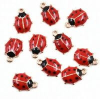 10Pc Cute Ladybird Ladybug Enamel Charm Pendant 11*9MM For DIY Earrings/Bracelet