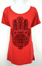 Lucky Brand Women's L Red Hamsa Graphic Print Top Blouse T-Shirt Tee NEW NWT