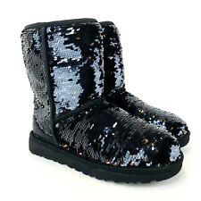 UGG Australia Womens Size 6 Classic Short Sequin Black Winter Boots 1094982 New
